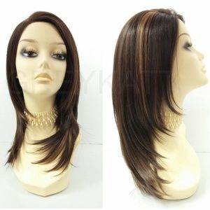 Brown straight lace front heat resistant wig